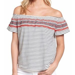THML Mirah Off The Shoulder Embroidered Top
